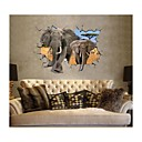 3D Wall Stickers Wall Decals, Style Elephant Washable PVC Wall Stickers