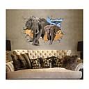 Decalcomanie adesivi murali della parete 3d, elefante stile adesivi murali in pvc lavabile