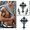 1pcs vanntett stort kors postet tilbake mønster tatovering klistremerke for kroppskunst