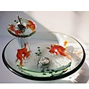 Goldfish Round Tempered Glass Vessel Sink with Waterfall Faucet ,Pop - Up Drain and Mounting Ring