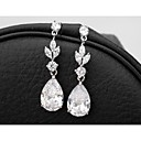 Elegant And Classic Princess Cut Women Long CZ Drop Earrings Unique Design Gold Plated Cubic Zircon Dangle Earrings