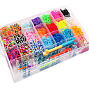 4200pcs cores do arco-íris estilo tear de silicone pulseiras 4200pcs bandas DIY coloridas, 12 s-clips, 1looms, 1hook + 1box