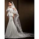 bryllup slør kvinners elegante tyll to-lags blonder applikere kant slør