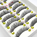 10 Pairs Handmade Natural Long Black False Eyelashes Cross Soft Thick Fake EyeLashes Makeup Eyelashes Extensions