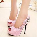 Women's Shoes Synthetic Kitten Heel Heels/Peep Toe Pumps/Heels Party & Evening/Dress Pink/Khaki