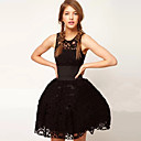 TS Women's British Court Wind Belt Black Lace Dress