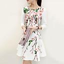 mince imprimé floral vintage femmes manches ¾-dessus de la robe au genou