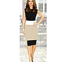 Women's Vintage Sexy/Bodycon/Work Round Sleeveless Dresses (Knitwear)