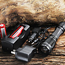 LED Flashlight CREE XM-L T6 1800 Lumens Focus Adjustable Torch Zoomable LED Flashlight + 18650 Battery + AC/Car Charger