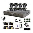 8 Channel casa e sistema DVR CCTV DIY Escritório (P2P online, 8 Indoor Camera Dome)