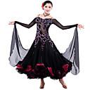 Moderne Dans/Oppvisning - Kjoler - til Dame ( Svart , Spandex/Tyll , Krystall / Rhinestone )