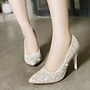 Calçados Femininos - Saltos - Saltos / Bico Fino - Salto Agulha - Vermelho / Branco / Dourado - Gliter - Social