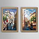pittura ad olio decorazione architettura del paesaggio dipinto a mano di lino naturale con Stretched incorniciato - set di 2