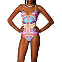 Women's Nylon/Polyester Wireless Floral Halter One-pieces Swimwear