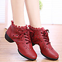 Non Customizable Women's Dance Shoes Latin/Dance Sneakers/Modern/Gymnastics Synthetic Chunky Heel Black/Red/White