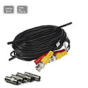 60FT(20M) CCTV Security Surveillance Camera Video Power Extension Cable Pre-made All-in-One BNC RCA Cable