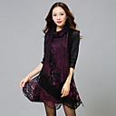 Women's Patchwork Blue / Purple Dress , Lace / Plus Sizes Round Neck Long Sleeve