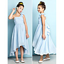Asymmetrical Chiffon Junior Bridesmaid Dress - Sky Blue A-line One Shoulder