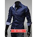 Camisa De los hombres Casual Un Color - Algodón - Manga Larga