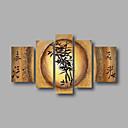 listo para entregar estirada pintura al óleo pintada a mano enmarcada en lienzo de pared de color beige abstracta de bambú cinco paneles