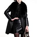 Women's Elegant Faux Fur Collar Long Sleeve Long Coat