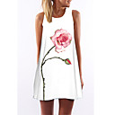 Women's Simple / Street chic Floral Loose Dress,Round Neck Above Knee Polyester