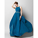 Vestito - Blu oceano Sera A tubino Con decorazione gioiello Lungo Chiffon