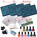 30pcs / set Nagelkunst Bild-Stempel Platten Maniküre Schablone Nagelkunstwerkzeuge (Nagelplatten + Nagel Aufkleber random)