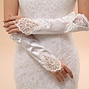 Elbow Length Fingerless Glove Lace / Elastic Satin Bridal Gloves / Party/ Evening Gloves