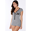 Women's Print Gray Jumpsuits,Sexy / Club / Active V Neck Short Sleeve