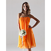 Lanting Knee-length Chiffon Bridesmaid Dress - Orange Plus Sizes / Petite Sheath/Column Strapless