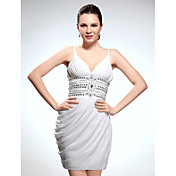 Cocktail Party / Graduation Dress - White Plus Sizes / Petite Sheath/Column V-neck / Spaghetti Straps Short/Mini Chiffon