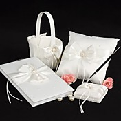4 Collection Set Ivory Guest Book / Pen Set / Ring Pillow / Flower Basket