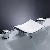 Kolmiosainen Kaksi kahvaa kolme reikää in Kromi Kylpyhuone Sink hana