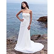 lanting novia vaina / columna de pequeña / más el tamaño de la boda del vestido sin tirantes de la gasa-capilla de tren