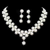 Mujer Cristal joyería de disfraz Perla Artificial Legierung Collares Pendientes Para Boda Fiesta Cumpleaños Pedida Regalos de boda