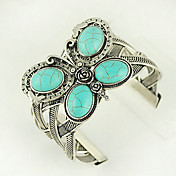 mariposa de color turquesa y aleación de plata brazalete pulsera