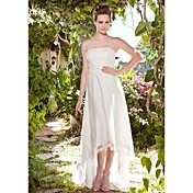 Lanting Sheath/Column Plus Sizes Wedding Dress - Ivory Asymmetrical Strapless Tulle