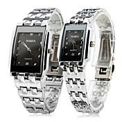 Masculino Mulheres Casal Relógio Elegante Relógio de Pulso Quartzo / Aço Inoxidável Banda Casual Prata Prata