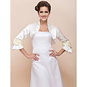 花の結婚式のジャケット/特別な機会の折り返し(もっと色)との長い袖のサテン