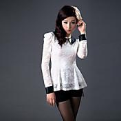 ZHI YUAN PU de cuero de encaje de manga Puff camiseta (más colores)