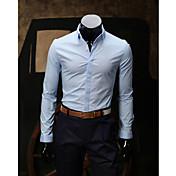 男性用 プレイン カジュアル シャツ,長袖 コットン ブラック / ブルー / グリーン / ピンク / パープル / ホワイト