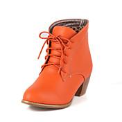 Mujer-Tacón Robusto-Botas a la ModaCasual-Semicuero-Negro / Marrón / Beige / Naranja