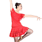 Ropa de tul y viscosa Latin Dance Outfit Top y falda para las damas más colores