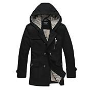 男性用 プレイン カジュアル コート,長袖 ファー,ブラック