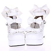 Zapatos Amaloli Princesa Tacón alto Zapatos Lazo 7.5 CM Blanco Para Cuero Sintético/Cuero de Poliuretano Poliuretano Cuero