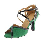 Zapatos de baile (Verde) - Danza latina/Salón de Baile - Personalizados - Tacón Personalizado