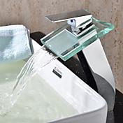 現代風 / 近代の 洗面ボウル 滝状吐水タイプ with  セラミックバルブ シングルハンドルつの穴 for  クロム , バスルームのシンクの蛇口