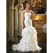 Vaina / columna sweetheart barrido / cepillo de tren vestido de novia de organza con cristal by lan ting bride®
