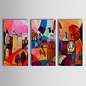 Pintada a mano Abstracto Paisaje Paisajes Abstractos Horizontal,Clásico Tradicional Tres Paneles Pintura al óleo pintada a colgar For